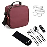 TATAY Burgundy Urban Food Kit with Cutlery - Thermal Lunch Box Bag Food with Airtight Food Storage Containers Included, Measurements 10 x 22.5 x 22 cm