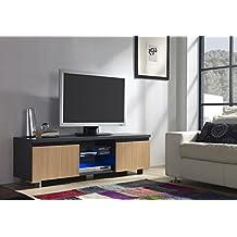 Mueble TV de 2 puertas en color Roble con LED