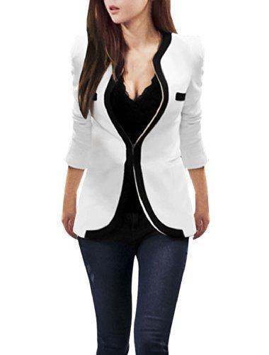 allegra-k-mujer-bolsillos-laterales-manga-larga-ocio-americana-sintetico-blanco-100-poliester-mujer-