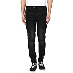 Mufti Mens Black Low Rise Sports Fit Joggers (36)