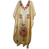 Mogul Interior Women Caftan Maxi Dress Beige Floral Embroidered Lounge Wear One Size