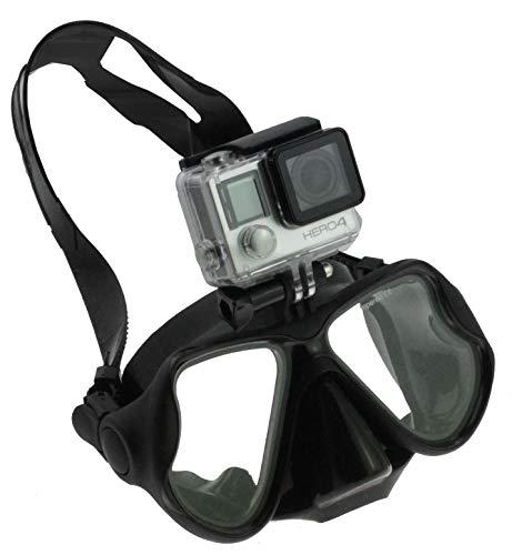 Navitech schwarz Tauchmaske mit Halterung Kompatibel mit TecTecTec = XPRO Junior Full HD Action Camera