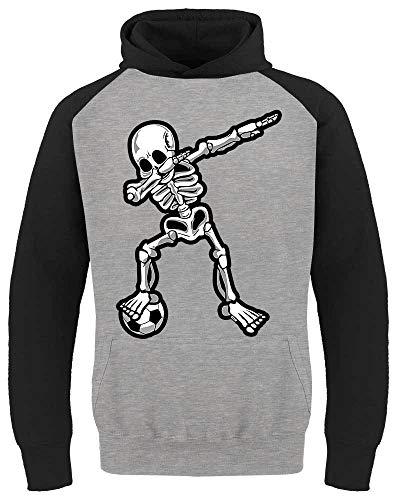 HARIZ Kinder Baseball Hoodie Dab Skelett mit Fussball Dab Teenager Tanzen Karneval Inkl. Geschenk Karte Hell Grau/Schwarz 152/12-13 Jahre