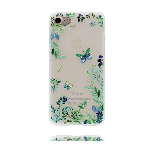 Custodia iPhone 7 4.7 - La copertura posteriore della cassa di gomma protettiva del silicone TPU del respingente ultra sottile Copertura per iPhone 7 case 4.7, Ragazza farfalla Fiore