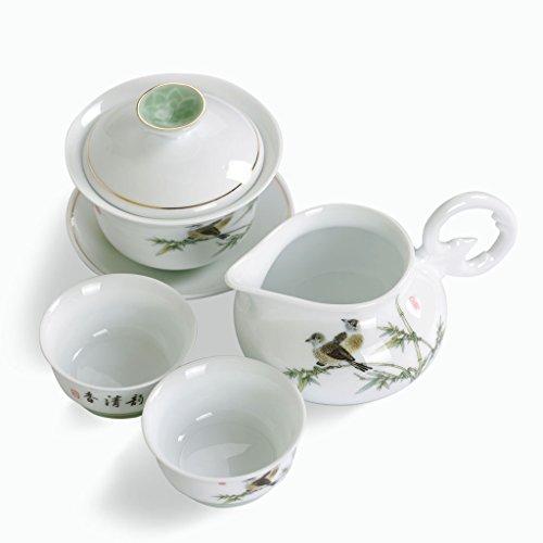 PORCELAINE en céramique Jingde chinois en bambou Gaiwan Pichet Tasse de thé Tasse Gong FU Ensemble à thé Blanc