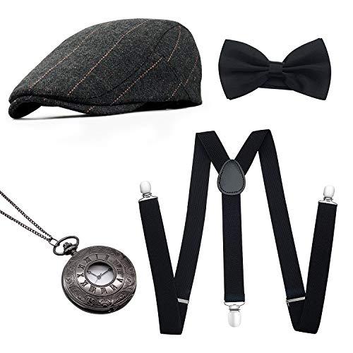 MMTX 1920s Jahre Herren Kostüm Accessoires Zubehör Set Flapper Mafia Gatsby Kostüm-Set mit Panamahut,Verstellbar Y-Back-Hosenträger, Fliege, Vintage Taschenuhr