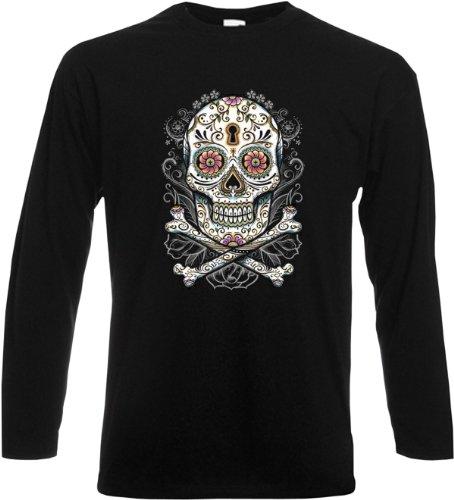 Langarm T-Shirt Floral skull Schwarz