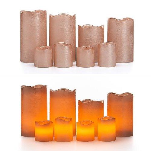 LED Echtwachskerzen inkl. Batterien - roségold