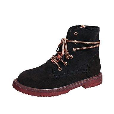 Rtry Femmes Chaussures Pu Automne Hiver Mode Bottes Bottes Talon Plat Rond Dentelle-toe Pour Casual Kaki Noir Us5.5 / Eu36 / Uk3.5 / Cn35