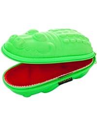 étuis pour lunettes pour enfant - crocodile vert avec la bouche rouge
