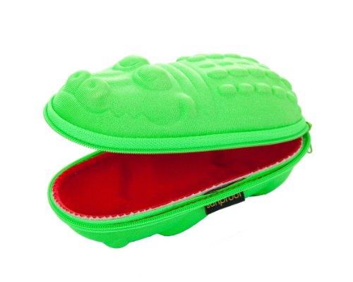 Brillenetuis fur Kinder Grüne Krokodil mit roten Mund