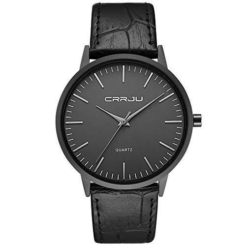 Relojes Hombre Cinturón Negro Super Delgado Moda Minimalista Impermeable Reloj Hombre Negocio