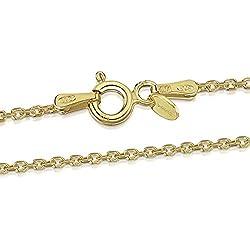 Amberta® Bijoux - Collier - Chaîne Argent 925/1000 - Plaqué Or 18K - Maille Forçat - Largeur 1.3 mm - Longueur 40 45 50 55 60 70 cm (70cm)