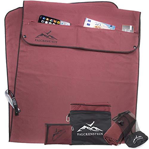 FALCKENSTEIN® Mikrofaser Sporthandtuch Set • ideal fürs Fitnessstudio ️♂️ (Rot, 145x52 cm + 160x80 cm)