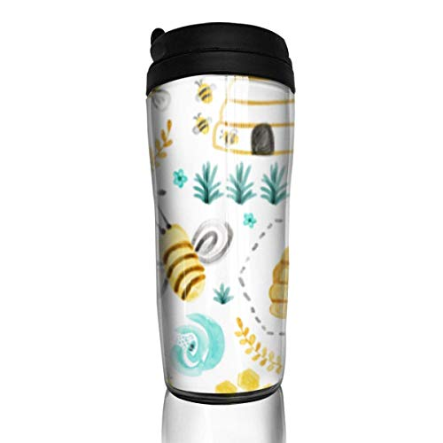 Travel Coffee Mug Busy Bees Watercolor 12 Oz Spill Proof Flip Lid Water Bottle Environmental Protection Material ABS