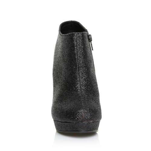 Stivaletti alla Caviglia, con Tacco a Stiletto Molto Alto, Brillantini Neri, H20 Brillantini neri