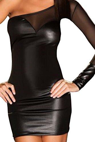 Mini-Kleid Damen Wetlook Party-Dress Frauen Lack Clubkleid asymmetrisch mit transparentem Stoff schwarz