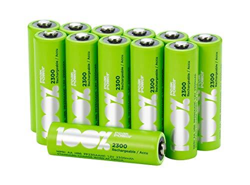 Piles Rechargeables AA 2300 mAh Peakpower, Pack de 12 - Pile LR6 NiMH Haute capacité