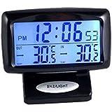 Generic Automotive Horloge électronique LED Température intérieure et extérieure Thermomètre du véhicule Horloge