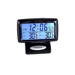 Boladge Orologio elettronico automobilistico Orologio del termometro del veicolo del sensore interno ed esterno del LED