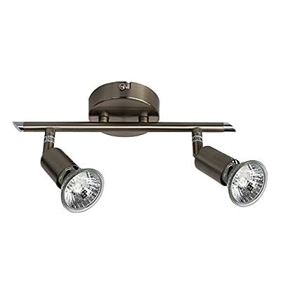Halogen Strahler Deckenleuchte, Spot, Deckenlampe GU10, 2 x 50 Watt, nickelmatt, warmweiss von LampenXXL GmbH - Lampenhans.de