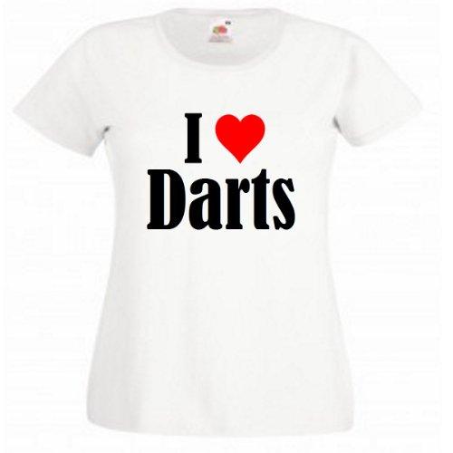 """T-Shirt """"I Love Darts"""" für Damen Herren und Kinder in Weiß Weiß"""