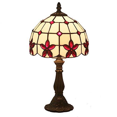 WMM-table lamp Vintage Retro Style Nachttischlampe Glasmalerei Kleine Lampe für Schlafzimmer, Wohnzimmer, Couchtisch, Bücherregal (Farbe : Rot) -