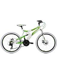 KS Cycling Kinder Mountainbike Mtb Fully Topeka Fahrrad, Weiß-Grün, 24