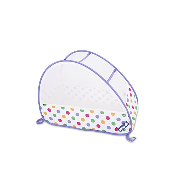 Koo-di Pop Up Travel Bubble Cot (Polka Dot Print)  A comfortable cot ideal for use at home and on holidays or weekends away A polycotton travel cot Ideal 6-18 months and when outgrown, makes an ideal playhouse for little ones 1