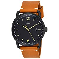 Fossil The Commuter Men's Black Dial Leather Band Watch - FS5276