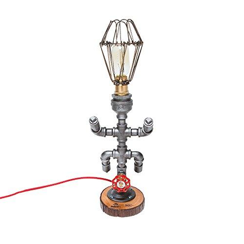 Industrial Edison Style Steampunk Schmiedeeisen Wasser Piping Tischlampe Rustic Home Deco Loft Innenarchitektur Iron Retro Beleuchtungskörper Schlafzimmer Bar Cafe Decor Schreibtisch Lampen Höhe: 16cm - Schreibtisch Höhe Bar