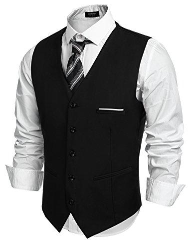 COOFANDY Herren Weste Anzugweste Slim fit V-Ausschnitt Ärmellose mit 5 Knöpfen Gilet Business Casual Klassisch Basic Männer Anzugweste für Herren (Schwarz, XL)
