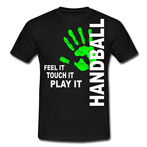 Handball - Feel It Touch It, Play It Männer T-Shirt von Spreadshirt®, XL, Schwarz