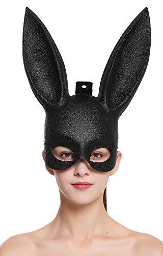 DRESS ME UP - BB-003-black Halloween Karneval Maske Halbmaske Augenmaske schwarz Black Bunny Hase Häschen lange Ohren