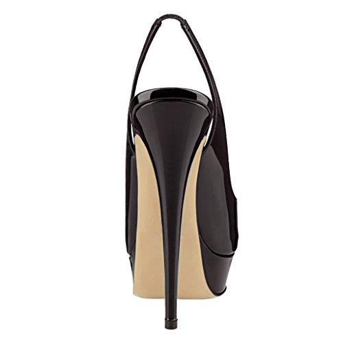 EKS Damen Peep Toe Slingbacks Pumps Plateau High Heels DamenSchuhe Plus Size 35-46 Schwarz