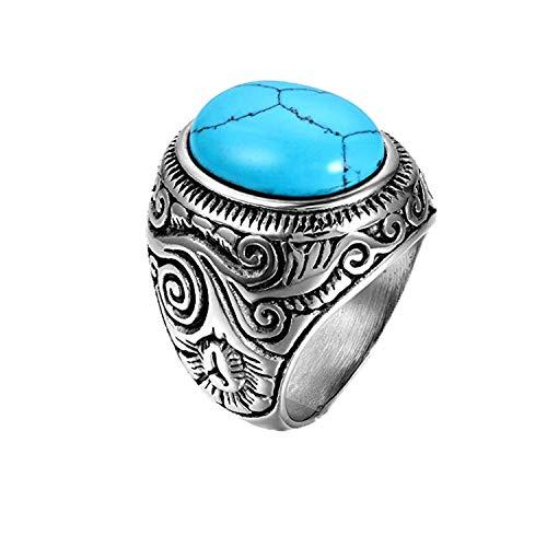 JewelryWe Schmuck Edelstahl Ring künstliche Türkis Silber Blau Motorradfahrer Einzigartig Herren, Größe 54