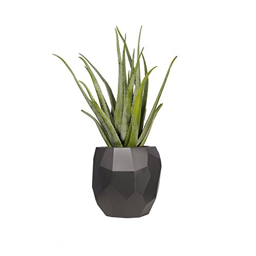 elho pure Edge 40 Blumentopf - Rundes Pflanzengefäß in Anthrazit - Modernes Design für Outdoor & Indoor - Ø 39,5 x H 38,1 cm