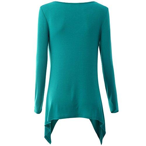 iShine Damen Bluse Kleid Langarmshirt Kleid V-Ausschnitt Shirt Top Bodycon Minikleid Casual Blau
