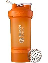 BlenderBottle Prostak Protein Shaker / Diät Shaker (650ml, skaliert bis 450ml, mit 2 Container 150ml & 100ml, 1 Pillenfach) Orange