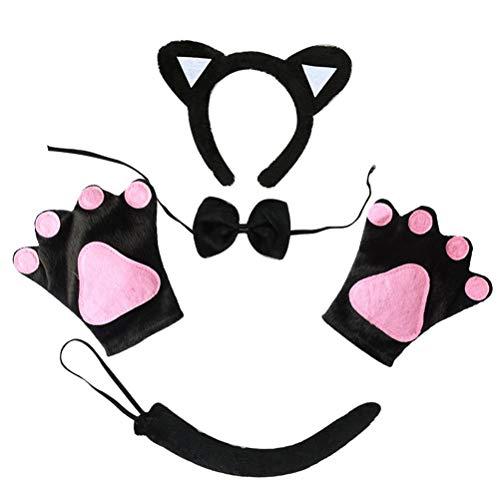 Juego de disfraces de gato de 5 piezas Diadema de orejas de gato Pajarita de gato Cola de gato Guantes de pata de gato para la decoración de fiesta de disfraces de Halloween   Descripción:   Material: tela   Diadema de gato: aprox. 15 cm / 5,91 pulg...
