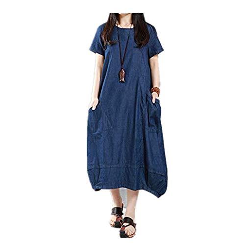 POTOU Kleid-rundes Ansatz-Denim-Kleid Frauen beiläufiges festes kurzes Hülsen-lose Taschen-Maxi Kleid