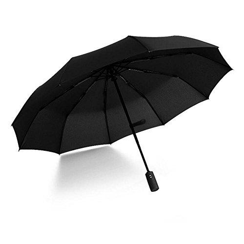 Outdoor Fashion Vollautomatische Drei Folding 10 Knochen Schlagverhinderung Business Regenschirm (2 P) , black , 23