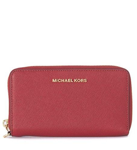 Pochette da polso Michael Kors Jet Set Travel in pelle saffiano rosso ciliegia