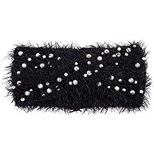 c3f31891b576c9 Treend24 Elegant Damen Strick Stirnband mit Perlen Haarband Weich Winter  Herbst Stirnband Sport Fitness Jogging Outdoor