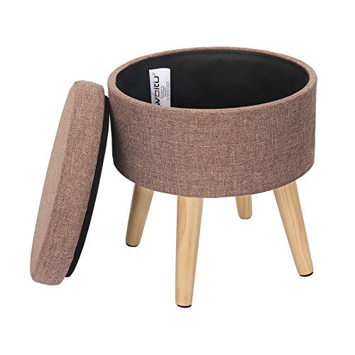 WOLTU Storage Ottoman Chair Stool Cream Upholstered Footstool Linen Round Pouffe Chair Multifunction with Removable Cover