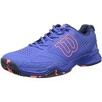 Wilson Femme Chaussures de Tennis, Idéal pour les joueuses offensives, Pour tout type de terrain, KAOS COMP W, Tissu Synthétique, Bleu (Amparo Blue/Surf the Web/Fiery Coral)