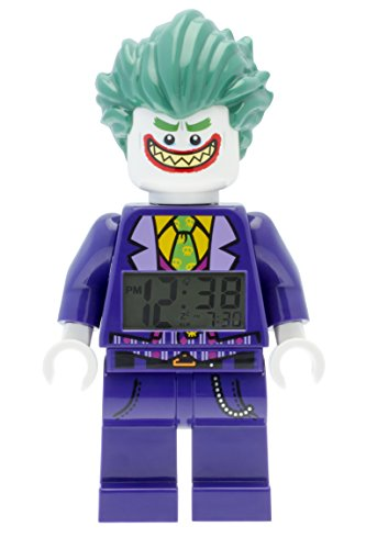 LEGO Batman Official Movie The Joker Kids Minifigure Alarm Clock, Purple/Green, Plastic, 9.5 Inches Tall with LCD Display for Boy and Girl