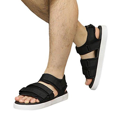 Haodasi Unisex Strap Einstellbar Sandalen Freizeit Draussen Anti-Rutsch Schuhe Weich Hausschuhe Schwarz w/Weiß