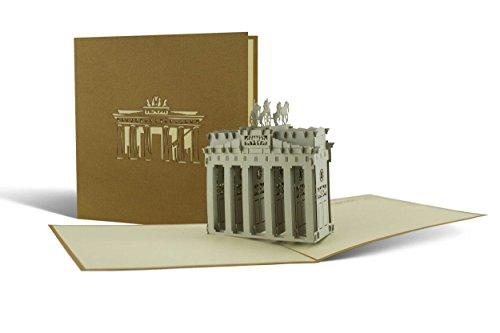 Gutschein für Reise nach Berlin verschenken, Berlin Ausflug, Brandenburger Tor, Souvenir, schöne Pop-Up Karte A07