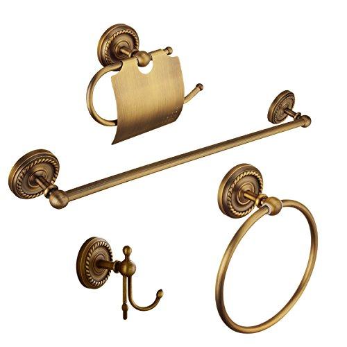 Ottone antico 4 pezzi set accessori da bagno - d'annata portasciugamani & porta salviette & porta carta igienica & ganci portasciugamani